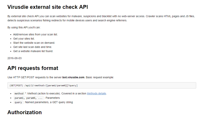Virusdie external site check API is available