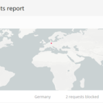 Blocked IP addresses map in Virusdie Website Firewall section