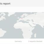 Blocked IP addresses map in Virusdie Website Firewall section