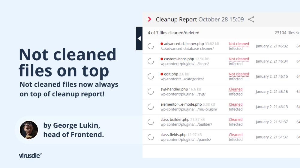 No scroll Virusdie cleanup report