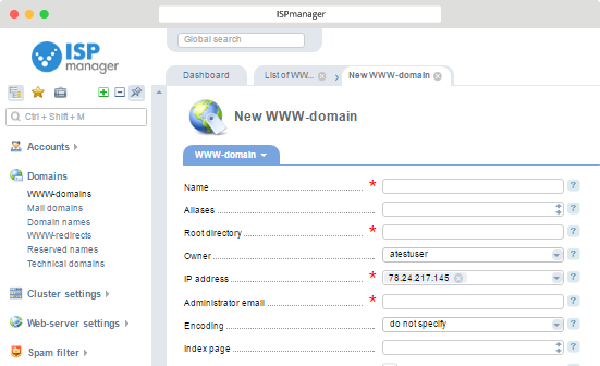 ISPmanager with Virusdie Domains