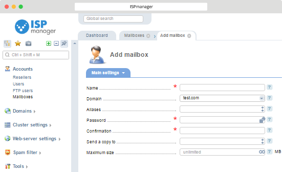 ISPmanager with Virusdie Mailboxes