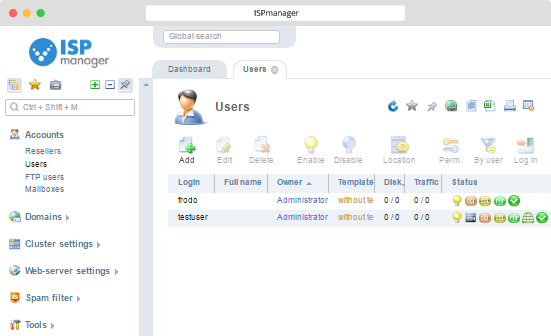 ISPmanager with Virusdie Users
